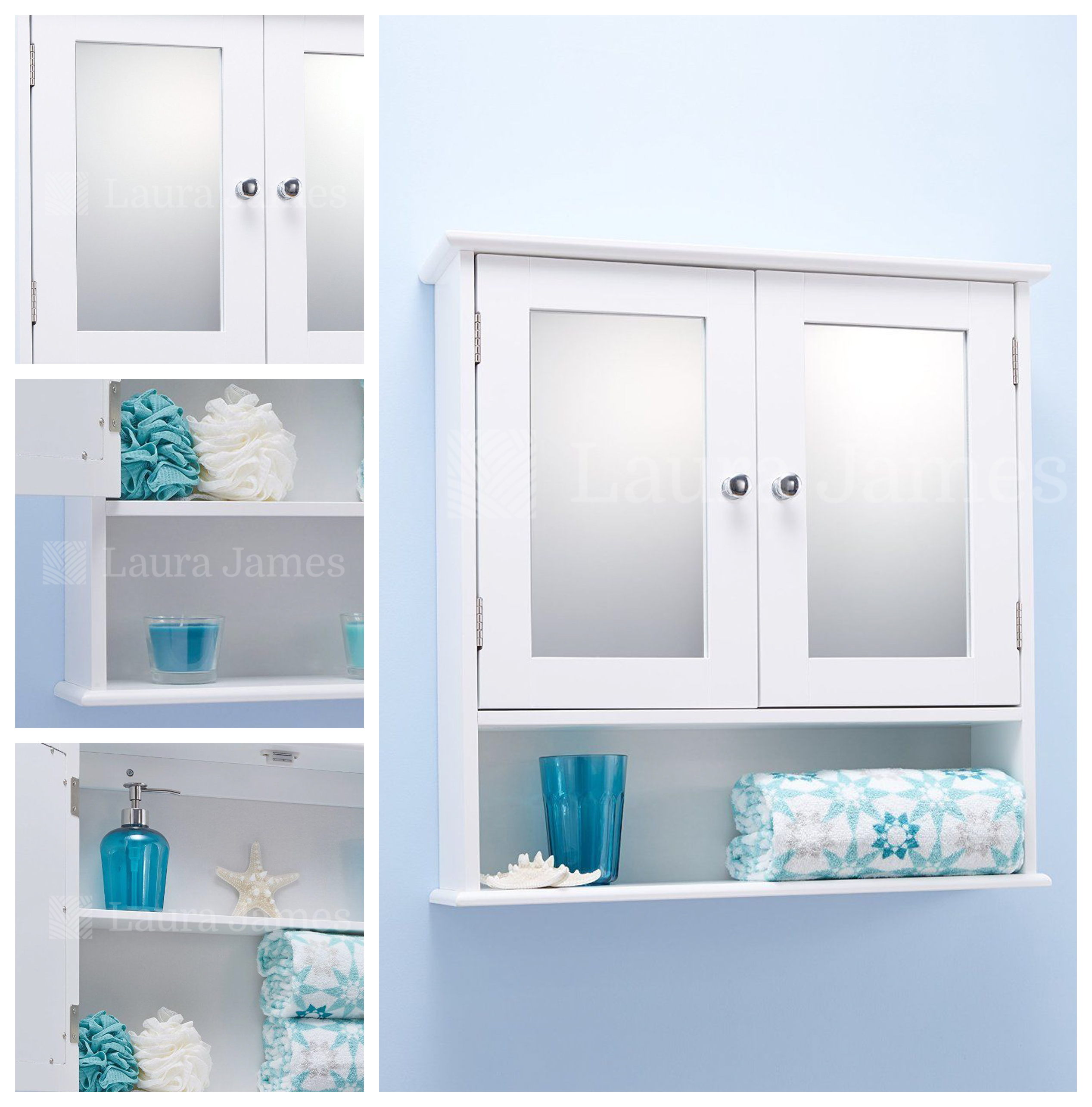 double door white bathroom mirrored cabinet ebay